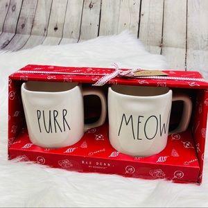 NEW Rae Dunn PURR & MEOW Mug Set Holiday Kitty Cat